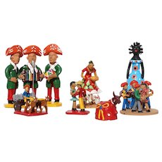 1950s Brazilian Set of Seven Earthenware Folk Art Figurines