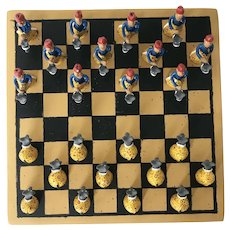 1950s Brazilian, Manuel Eudocio Folk Art Checkers / Draughts Board Game Complete, Earthenware