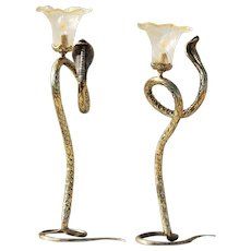 "Mid-Century French Pair of Tall Brass Snake Table Lamps (28.34"")"