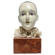 1950s French Paperweight Plaster Harlequin Clown on Marble