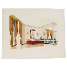 1960s French Interior Gouache Design Project depicting a Living Room