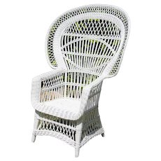 1970s French White Peacock Wicker Chair