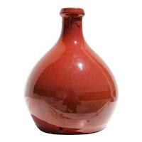 1970s Vintage Studio Pottery French Bottle Vase, Earthenware