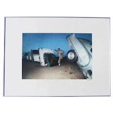 1980's Framed Signed Photography, USA Route 66, The Cadillac Ranch, Texas Landmark, Fine Art Photo