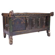19th Century Antique Indian Dowry Chest / Trunk depicting Horse Heads and Human Figures