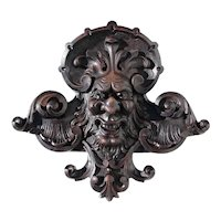 19th Century Antique Carved Wooden Devil's Head