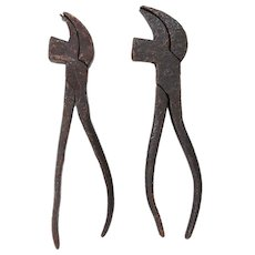 19th Century English Antique Set of 2 Cobbler's Tool Pliers, Original, Cast Iron