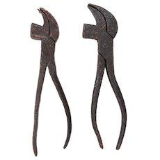 19th Century English Antique Set of 2 Cobbler's Tool Pliers, Original, Cast Iron