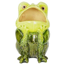 A Burmantofts Frog Spoon Warmer with Glass Eyes, English Antique, 19th Century
