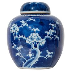 """19th Century Kangxi Mark, Blue and White """"Prunus Hawthorn Pattern"""" Ginger Jar"""
