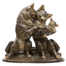 """19th Century Large Austrian Cat Family holding a Kitten, with Glass Eyes, Height: 17.32"""", Earthenware"""