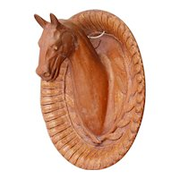 """19th Century Large Horse Medallion Trophy from France, 18.89"""", Earthenware"""