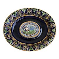 19th Century Minton Majolica Platter depicting the God Zeus