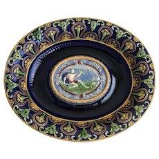 19th Century Minton Majolica Platter depicting the God Zeus