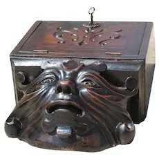 19th Century Rare Antique Demon Letter Box, Wooden, French