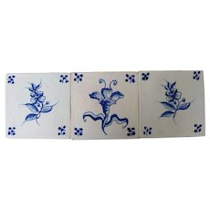 19th Century Set of 3 Floral Tiles, Portuguese, White Tin-Glazed Pottery