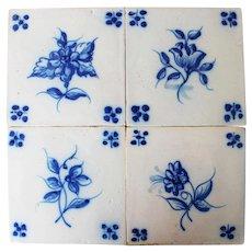 19th Century Set of 4 Floral Tiles, Portuguese, White Tin-Glazed Pottery