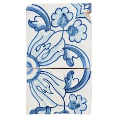 19th Century Set of Two Earthenware Tiles depicting a Flower