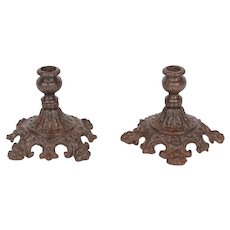 Pair of 19th Century Victorian Cast Iron Candlesticks / Candleholders