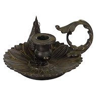 19th Century, French Small Bronze Chamberstick for Melting Sealing Wax