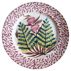 19th Century, Hand Painted Portuguese Faience Plate / Dish, depicting a Vase with Flowers, Majolica