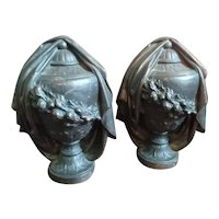 Antique Pair of Neoclassical French Cast Iron Draped Urns Finials