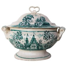 19th Century Portuguese Faience Covered Tureen depicting a House, Majolica
