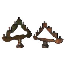 19th Century Antique, Pair of Wooden Ecclesiastical Altar Candelabras, Baroque Style