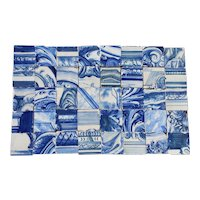 18th Century Antique Tile Mural Panel Abstract Blue & White, Portuguese