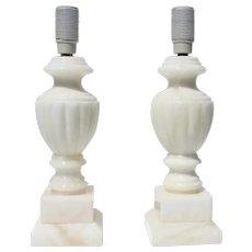 Mid-Century Pair of Vintage Italian Alabaster Table Lamps