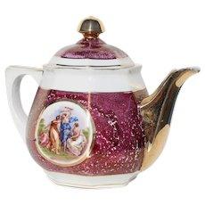 1930s Porcelain Teapot depicting Angelica Kauffmann Paintings by Vista Alegre, Portugal