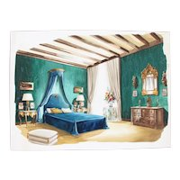 1960s French Interior Gouache Design Project depicting a Bedroom