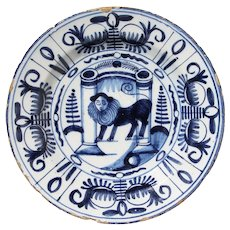 Antique 17th/18th Century Dutch Delft Plate depicting a Lion with Human Face