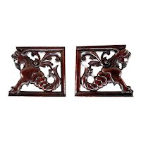 Antique 19th Century Set of Two Renaissance Revival Wooden Fragments depicting Lions with Fish Tails