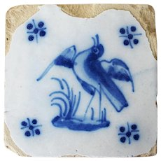 Antique Baroque Bird Tile, 18th Century, Portuguese, Tin-Glazed Pottery