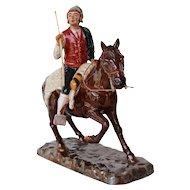 Antique Bordallo Pinheiro Horseman Figurine, Palissy Ware, Earthenware, Majolica
