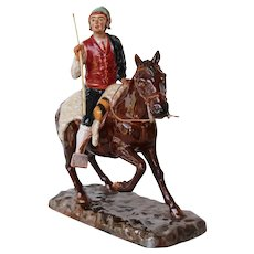 Antique Bordallo Pinheiro Horseman Figurine, Palissy Ware, Earthenware, Majolica