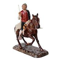 Antique Bordallo Pinheiro Palissy Ware, Earthenware, Majolica Horseman Figurine