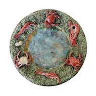 Antique Bordallo Pinheiro, Portuguese Palissy Ware Large Wall Plate depicting The Bottom of the Ocean
