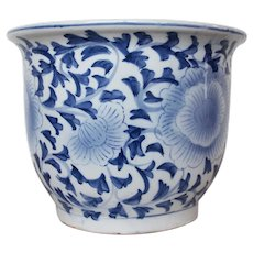 Vintage Large Chinese Porcelain Jardiniere, White and Blue