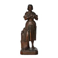 Antique French Spelter, Armorial Sculpture of Joan of Arc (Jeanne D'Arc)