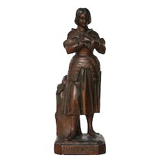 Antique French Bronze, Armorial Sculpture of Joan of Arc (Jeanne D'Arc)