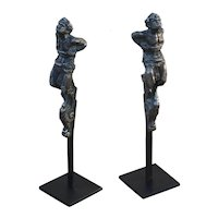 Antique French Silvered Bronze Set of Two Fauns Finials Mounted on Brushed Steel Bases