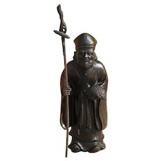 Antique Japanese Meiji Sculpture of an Old Man in Bronze