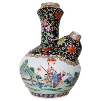 Antique Large Chinese Porcelain Kendi depicting Kids Playing