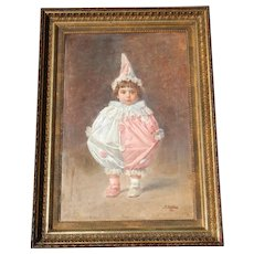 Antique Large Oil Painting of a Harlequin Clown Girl, French, ca. 1900