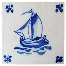 Antique Portuguese Tile depicting a Boat, 19th Century, Tin-Glazed Pottery