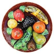 Antique Portuguese Palissy Ware Plate, Majolica, Caldas Portugal, Earthenware, Barbotine