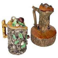 Antique Portuguese Set of Two Palissy Ware Majolica Water Ewer, Cork Oak Decor