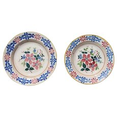 Antique Portuguese Set of Two Earthenware Wall Plates depicting Flowers